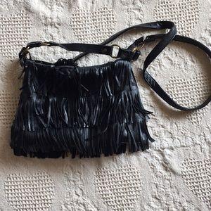 Black leather fringe crossbody bag!
